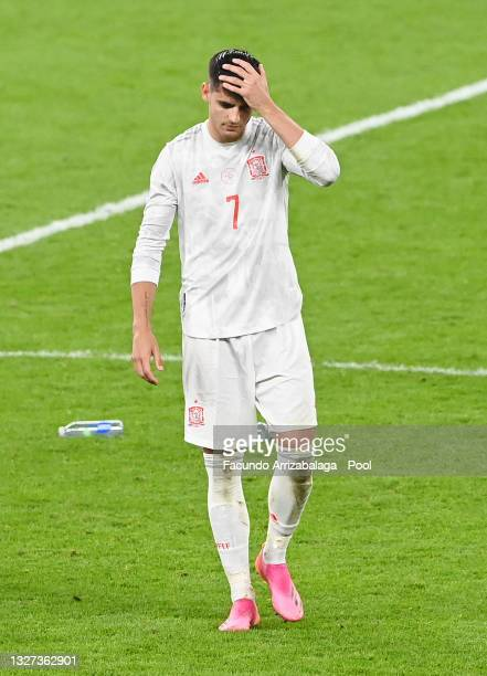 Alvaro Morata of Spain looks dejected following defeat in the penalty shoot out after the UEFA Euro 2020 Championship Semi-final match between Italy...
