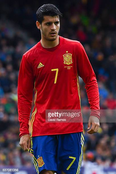 Alvaro Morata of Spain looks on during an international friendly match between Spain and Korea at the Red Bull Arena stadium on June 1 2016 in...