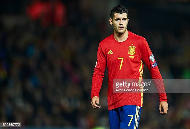 Alvaro Morata of Spain looks on during the FIFA 2018 World Cup Qualifier between Spain and FYR Macedonia at on November 12 2016 in Granada