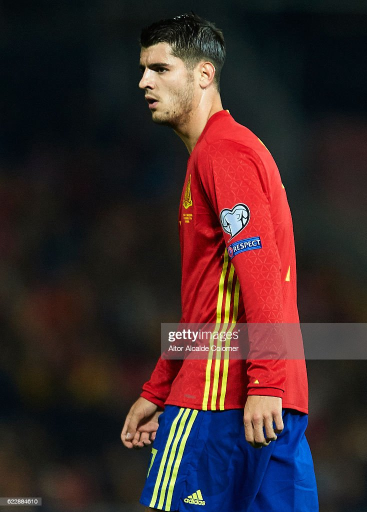 Alvaro Morata of Spain looks on during the FIFA 2018 World Cup Qualifier between Spain and FYR Macedonia at on November 12, 2016 in Granada, .