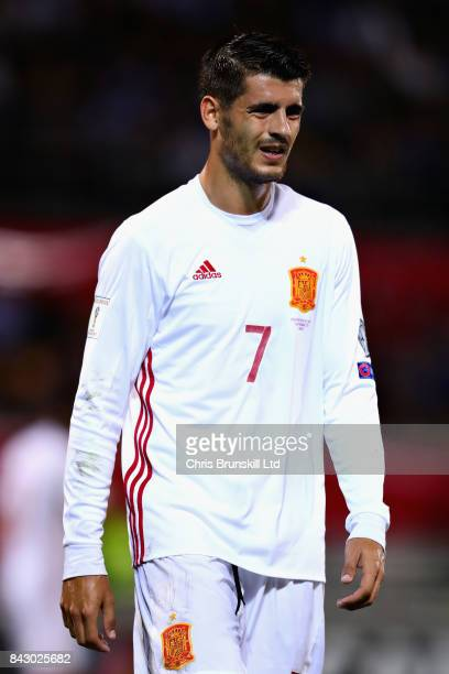 Alvaro Morata of Spain looks on during the FIFA 2018 World Cup Qualifier between Liechtenstein and Spain at Rheinpark Stadion on September 5 2017 in...