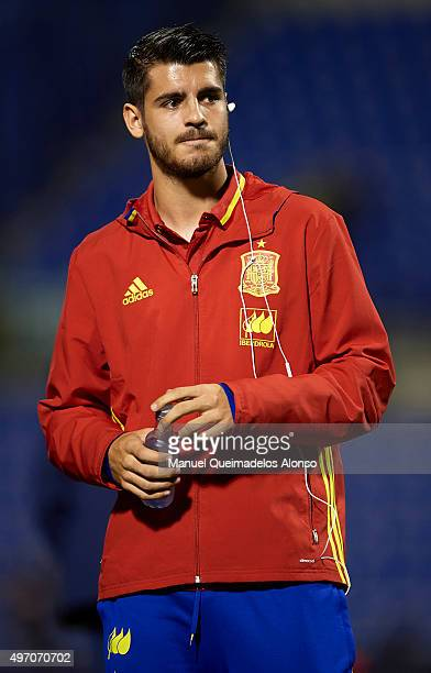 Alvaro Morata of Spain looks on prior to the international friendly match between Spain and England at Jose Rico Perez Stadium on November 13 2015 in...
