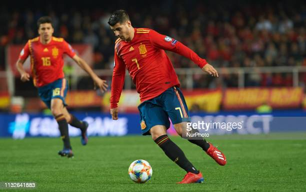 Alvaro Morata of Spain national team during the European Qualifying round Group F match between Spain and Norway at Estadio de Mestalla on March 23...