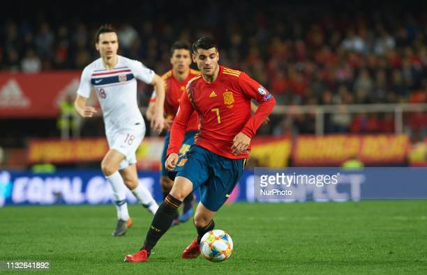 Alvaro Morata of Spain national team during the European Qualifying round Group F match between Spain and Norway at Estadio de Mestalla, on March 23...