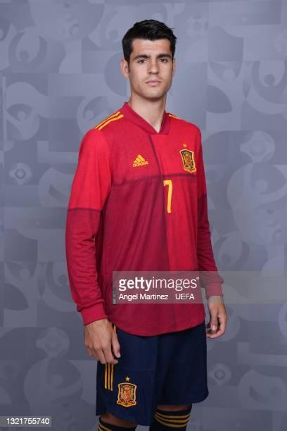 Alvaro Morata of Spain poses during the official UEFA Euro 2020 media access day at Ciudad del Futbol on June 03, 2021 in Las Rozas de Madrid, Spain.