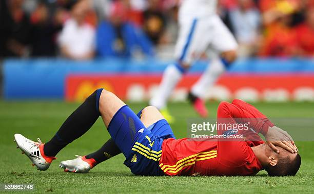 Alvaro Morata of Spain reacts after colliding with Tomas Sivok of Czech Republic during the UEFA EURO 2016 Group D match between Spain and Czech...
