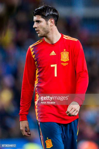 Alvaro Morata of Spain reacts during the international friendly match between Spain and Costa Rica at La Rosaleda Stadium on November 11 2017 in...