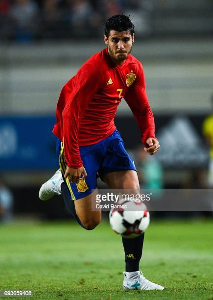 Alvaro Morata of Spain runs with the ball during a friendly match between Spain and Colombia at La Nueva Condomina stadium on June 7 2017 in Murcia...
