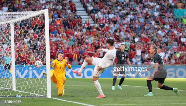 Alvaro Morata of Spain scores a goal that was disallowed for offside during the UEFA Euro 2020 Championship Round of 16 match between Croatia and...