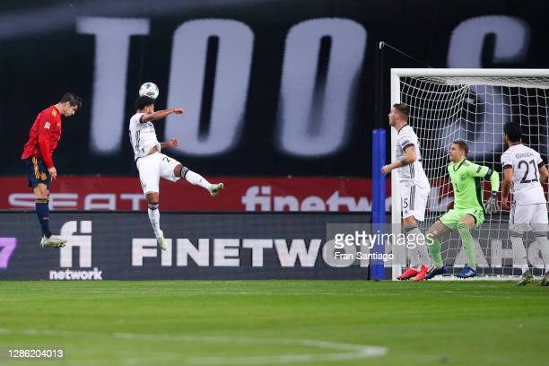 Alvaro Morata of Spain scores his team's first goal during the UEFA Nations League group stage match between Spain and Germany at Estadio de La...