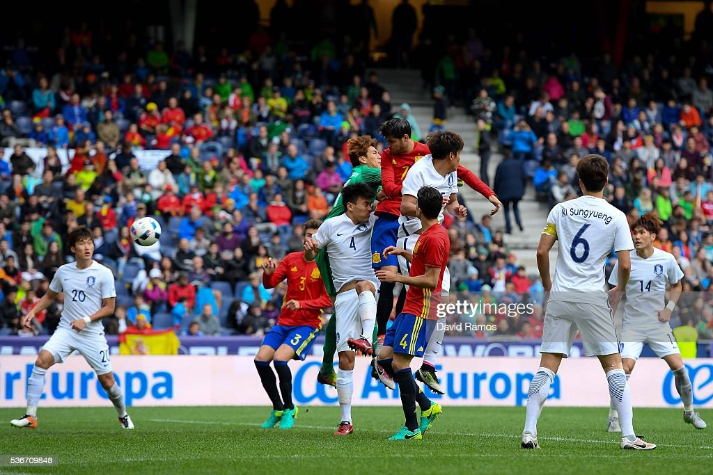 Alvaro Morata of Spain scores his team's fourth goal during an international friendly match between Spain and Korea at the Red Bull Arena stadium on June 1, 2016 in Salzburg, Austria.