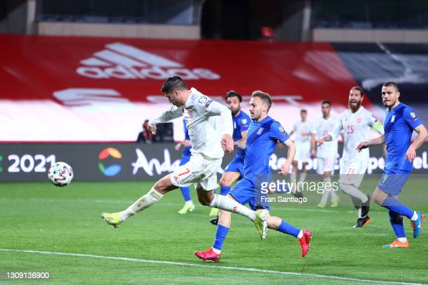 Alvaro Morata of Spain scores their side's first goal during the FIFA World Cup 2022 Qatar qualifying match between Spain and Greece on March 25,...