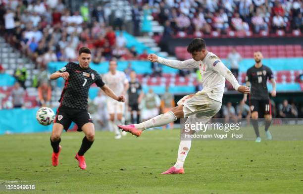 Alvaro Morata of Spain scores their side's fourth goal during the UEFA Euro 2020 Championship Round of 16 match between Croatia and Spain at Parken...