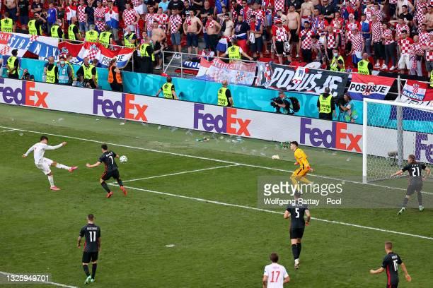 Alvaro Morata of Spain scores their side's fourth goal past Dominik Livakovic of Croatia during the UEFA Euro 2020 Championship Round of 16 match...