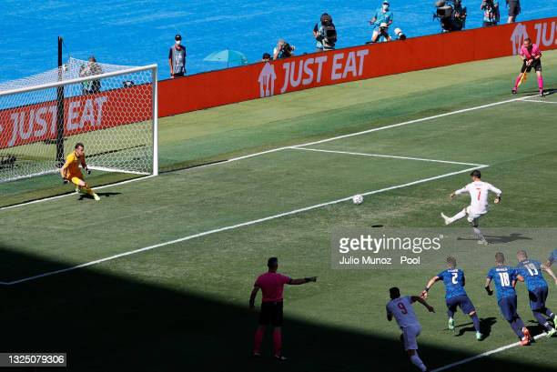 Alvaro Morata of Spain takes a penalty which is saved by Martin Dubravka of Slovakia during the UEFA Euro 2020 Championship Group E match between...