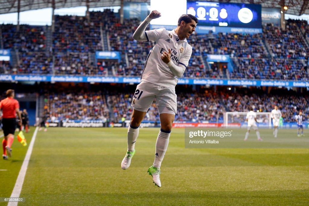 Alvaro Morata os Real Madrid celebrates after scoring goal durin the La Liga match between RC Deportivo La Coruna and Real Madrid at Riazor Stadium onn April 26, 2017 in La Coruna, Spain.