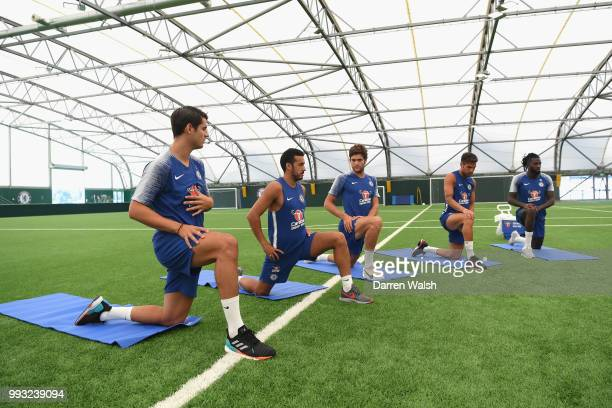 Alvaro Morata Pedro Marcos Alonso Cesc Fabregas and Tiemoue Bakayoko of Chelsea during a training session at Chelsea Training Ground on July 7 2018...
