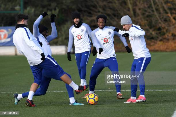 Alvaro Morata Tiemoue Bakayoko Michy Batshuayi and Eden Hazard of Chelsea during a training session at Chelsea Training Ground on November 28 2017 in...