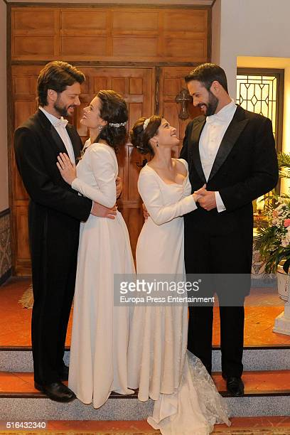 Alvaro Morte Adriana Torrebejano Aida de la Cruz AND Chico García are seen during 'El Secreto de Puente Viejo' set filming on January 14 2016 in...