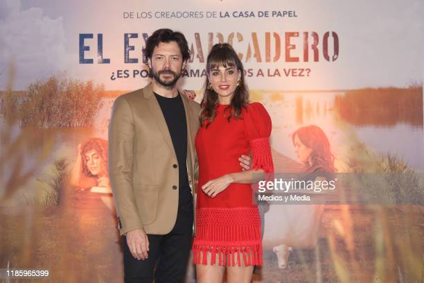 Alvaro Morte and Irene Arcos pose for photos after the press conference of 'El Embarcadero' at Hotel St. Regis on November 6, 2019 in Mexico City,...