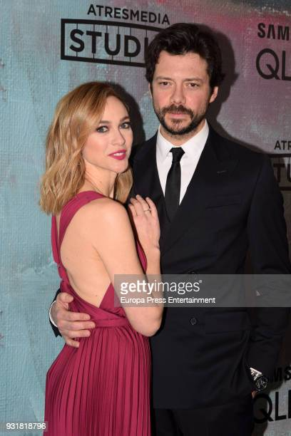 Alvaro Morte and Marta Hazas attend the Atresmedia Studios photocall at the Barcelo Theater on March 13 2018 in Madrid Spain
