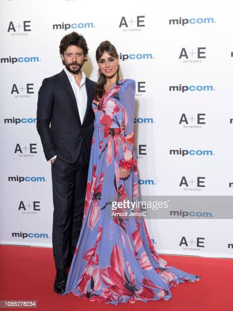 Alvaro Morte and Veronica Sanchez attends the opening ceremony red carpet of the MIPCOM 2018 on October 15 2018 in Cannes France
