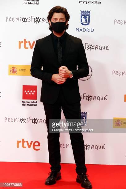 Alvaro Morte attends 'Jose Maria Forque Awards' 2021 red carpet at IFEMA on January 16, 2021 in Madrid, Spain.