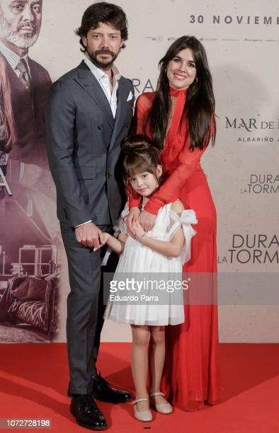 Alvaro Morte Luna Fulgencio and Adriana Ugarte attend the 'Durante la tormenta' photocall at Suecia hotel on November 26 2018 in Madrid Spain