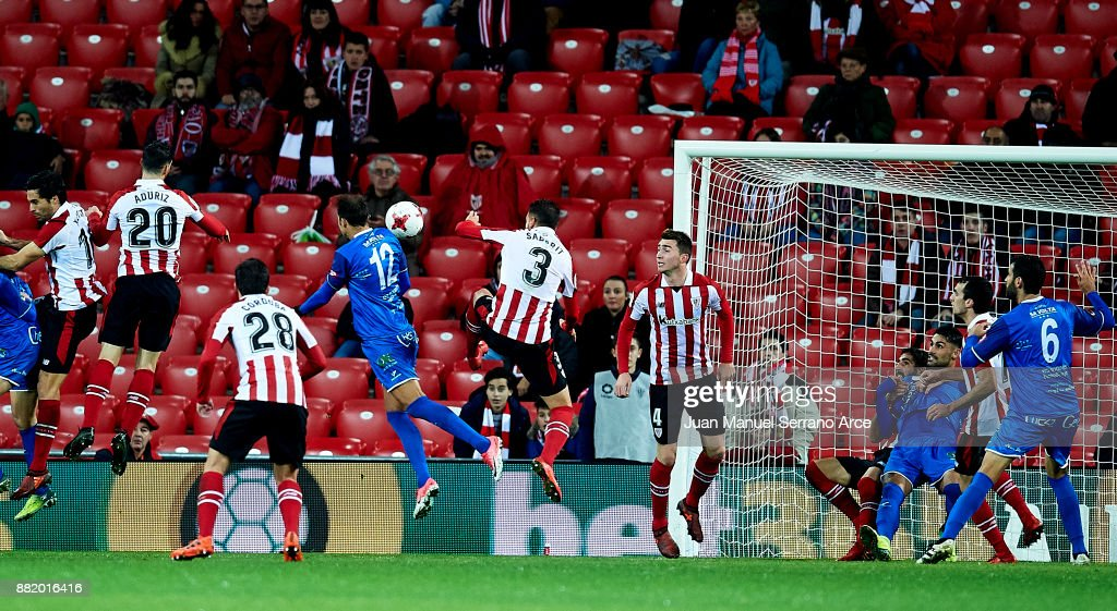 Alvaro Muniz of SD Formentera scoring goal during the Copa del Rey, Round of 32, Second Leg match between Athletic Club and SD Formentera at San Mames Stadium on November 29, 2017 in Bilbao, Spain.