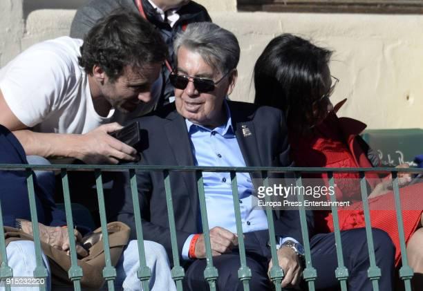 Alvaro Munoz Escassi Manolo Santana and Claudia Rodriguez attend Davis Cup on February 4 2018 in Marbella Spain