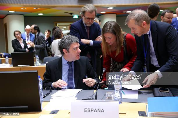 Alvaro Nadal Belda Minister of Industry Tourism and Digital Diary of Spain views documents during the European Union Transport Telecommunications and...
