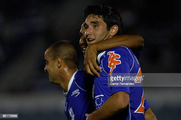 Alvaro Navarro of Uruguay's Defensor Sporting celebrates his goal against Colombia's Independiente de Medellin during their Copa Libertadores...