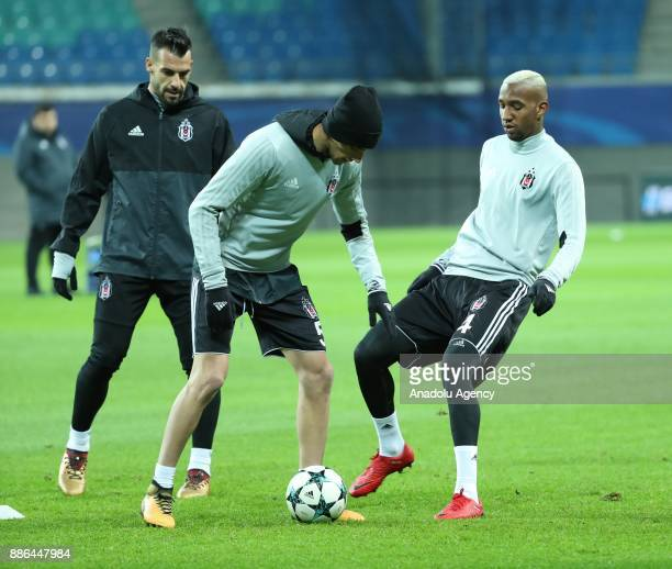 Alvaro Negredo and Anderson Talisca of Besiktas attend a training session ahead of the UEFA Champions League group G match between RB Leipzig and...