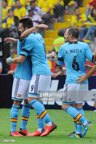 Alvaro Negredo and his teammates of Spain celebrate a goal against Ecuador during a match between Ecuador and Spain as part of a friendly match at...