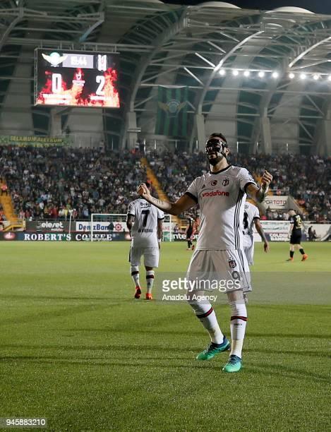 Alvaro Negredo of Besiktas celebrates after scoring a goal during the Turkish Super Lig soccer match between Teleset Mobilya Akhisarspor and Besiktas...