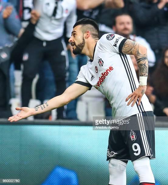 Alvaro Negredo of Besiktas celebrates after scoring a goal during the Turkish Super Lig soccer match between Besiktas and Evkur Yeni Malatyaspor at...
