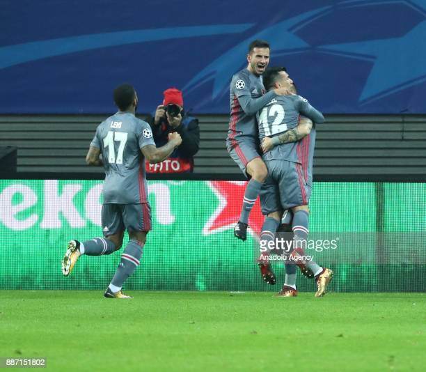 Alvaro Negredo of Besiktas celebrates after scoring a goal with his teammates during the UEFA Champions League group G soccer match between RB...