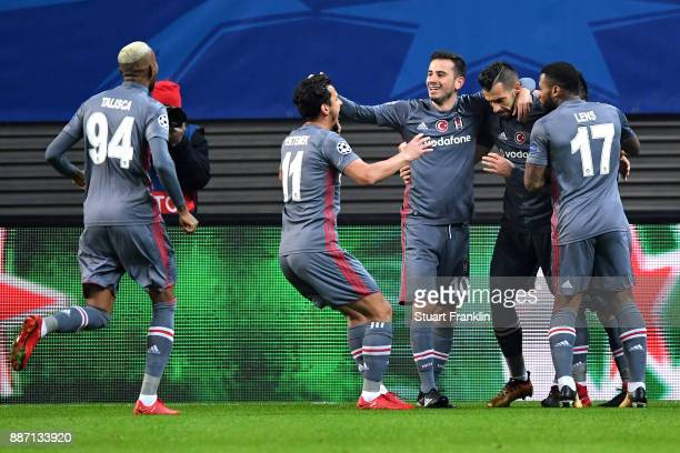 Alvaro Negredo of Besiktas celebrates after scoring his sides first goal with his Besiktas team mates during the UEFA Champions League group G match...