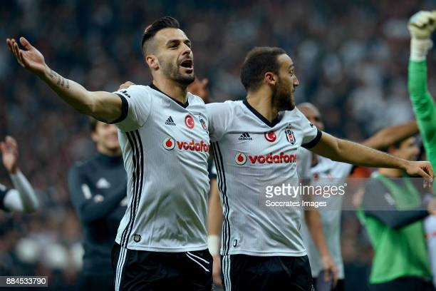 Alvaro Negredo of Besiktas celebrates the victory during the Turkish Super lig match between Besiktas v Galatasaray at the Vodafone Park on December...