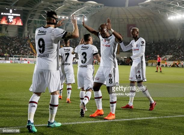 Alvaro Negredo of Besiktas celebrates with his teammates after scoring a goal during the Turkish Super Lig soccer match between Teleset Mobilya...