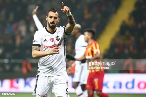 Alvaro Negredo of Besiktas during the Turkish Super lig match between Kayserispor v Besiktas at the Kayseri Kadir Hasstadion on December 10 2017 in...