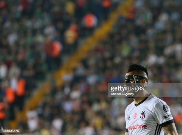 Alvaro Negredo of Besiktas gestures during the Turkish Super Lig soccer match between Teleset Mobilya Akhisarspor and Besiktas at Spor Toto Akhisar...