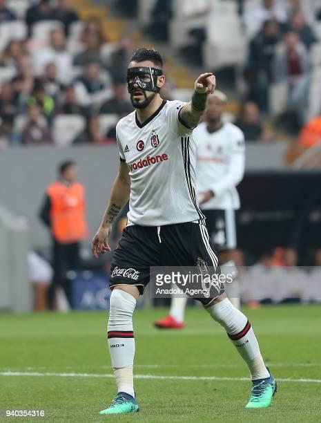 Alvaro Negredo of Besiktas gives tactics to his teammates during a Turkish Super Lig week 27 soccer match between Besiktas and Aytemiz Alanyaspor at...