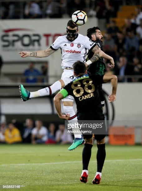 Alvaro Negredo of Besiktas in action against Abdou Sissoko of Teleset Mobilya Akhisarspor during the Turkish Super Lig soccer match between Teleset...