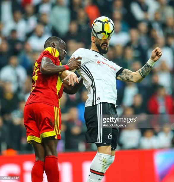 Alvaro Negredo of Besiktas in action against Aly Cissokho of Evkur Yeni Malatyaspor during Turkish Super Lig soccer match between Besiktas and Evkur...