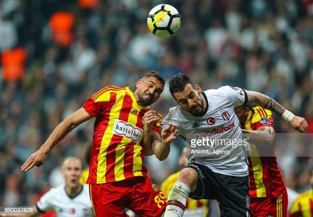 Alvaro Negredo of Besiktas in action against Gilberto Olivera Souza of Evkur Yeni Malatyaspor during Turkish Super Lig soccer match between Besiktas...