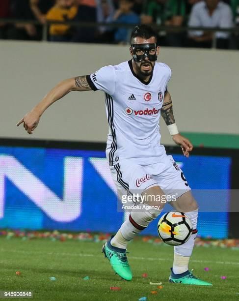 Alvaro Negredo of Besiktas in action during the Turkish Super Lig soccer match between Teleset Mobilya Akhisarspor and Besiktas at Spor Toto Akhisar...