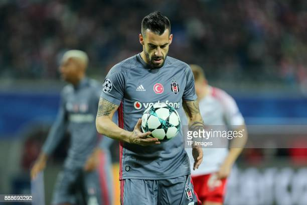 Alvaro Negredo of Besiktas looks on during the UEFA Champions League group G soccer match between RB Leipzig and Besiktas at the Leipzig Arena in...