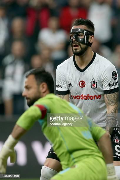 Alvaro Negredo of Besiktas reacts during a Turkish Super Lig week 27 soccer match between Besiktas and Aytemiz Alanyaspor at Vodafone Park in...