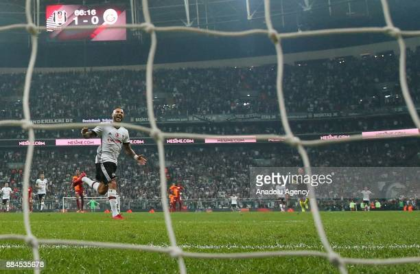 Alvaro Negredo of Besiktas scores a goal during the Turkish Super Lig match between Besiktas and Galatasaray at Vodafone Park in Istanbul Turkey on...